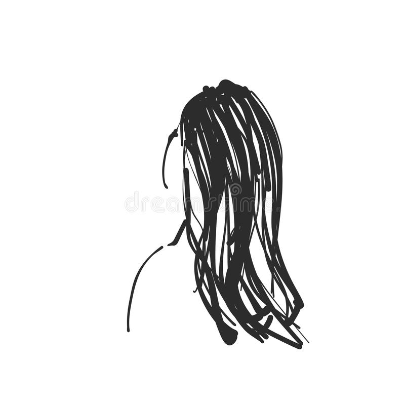Esboçando o retrato da mulher Menina de sonho tirada dos desenhos animados Senhora bonita romântica esboço doodles ilustração stock