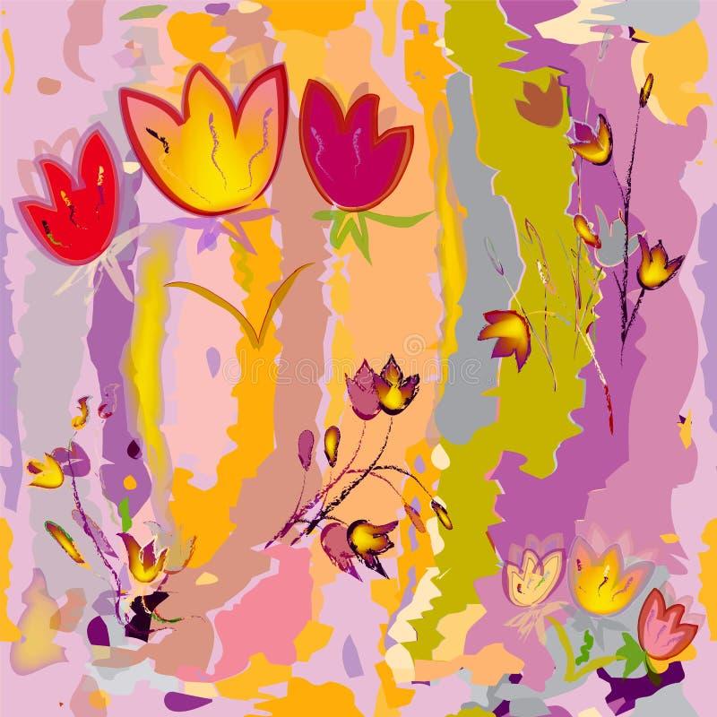 Esboçando tulipas estilizados no fundo colorido da aquarela ilustração royalty free