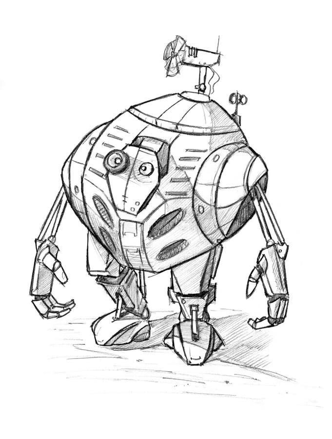 Esboço áspero do lápis do Grunge preto do robô engraçado bonito ilustração royalty free