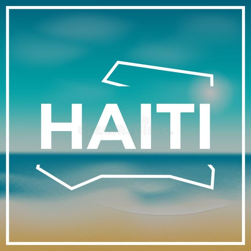 Esboço áspero do mapa de Haiti contra o contexto de ilustração royalty free