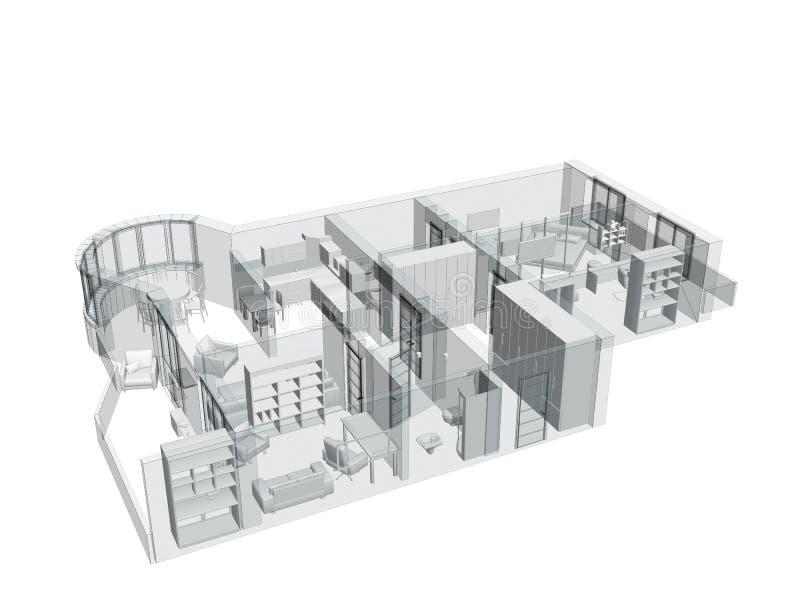 esboço 3d de um apartamento do quatro-quarto ilustração do vetor