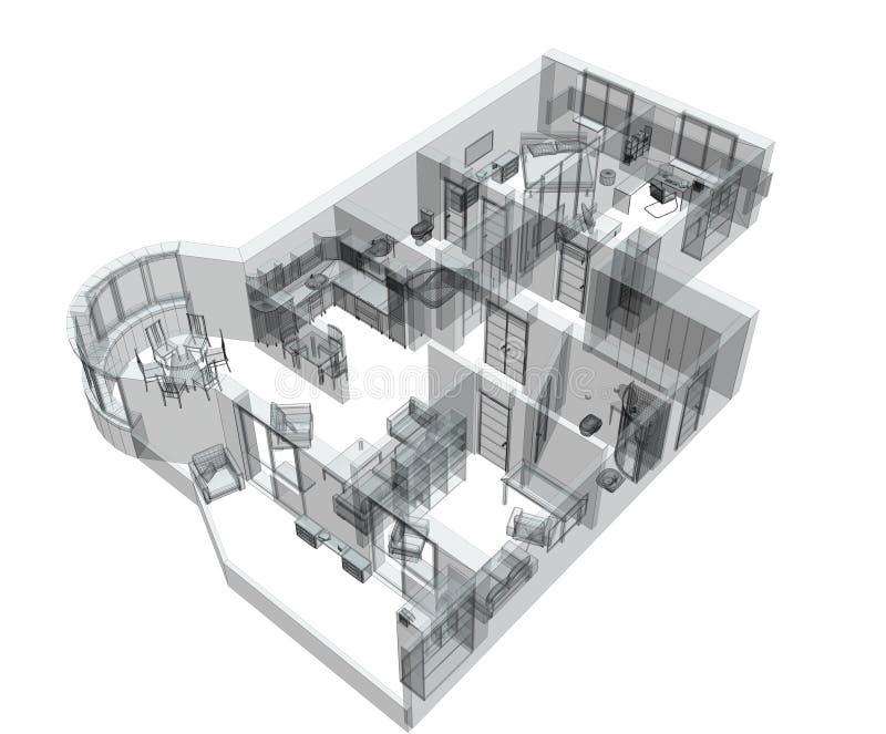 esboço 3d de um apartamento do quatro-quarto ilustração royalty free