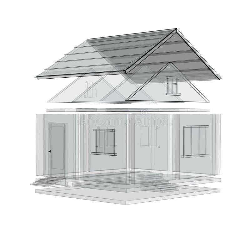 esboço 3d de uma casa ilustração royalty free