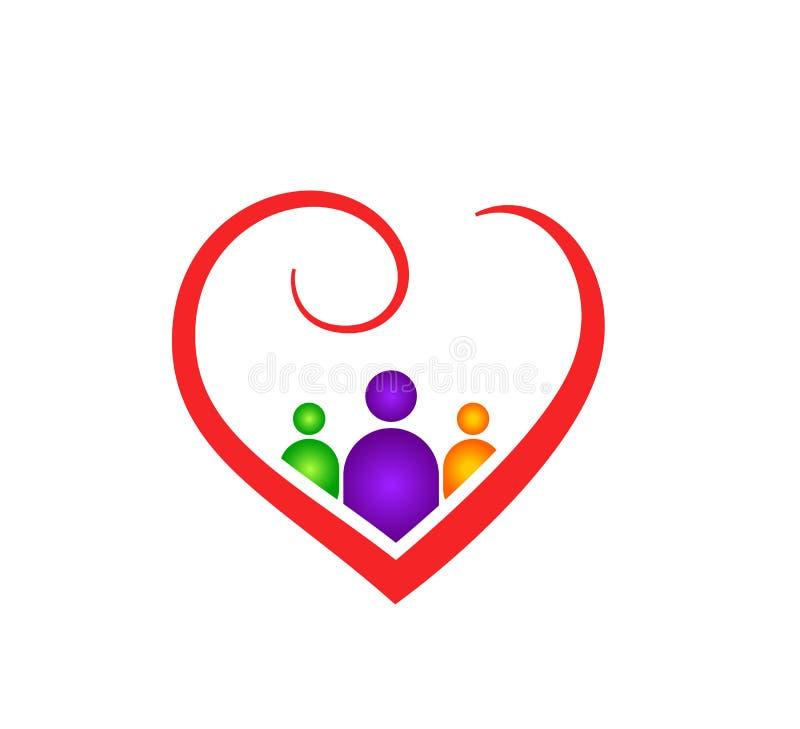 Esboço abstrato da forma do coração com os povos dentro da ilustração do vetor do cuidado da família Ícone vermelho do coração no ilustração stock