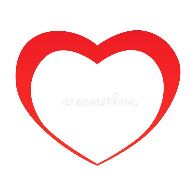 Esboço abstrato da forma do coração Ilustração do vetor Ícone vermelho do coração no estilo liso O coração como um símbolo do amo ilustração stock