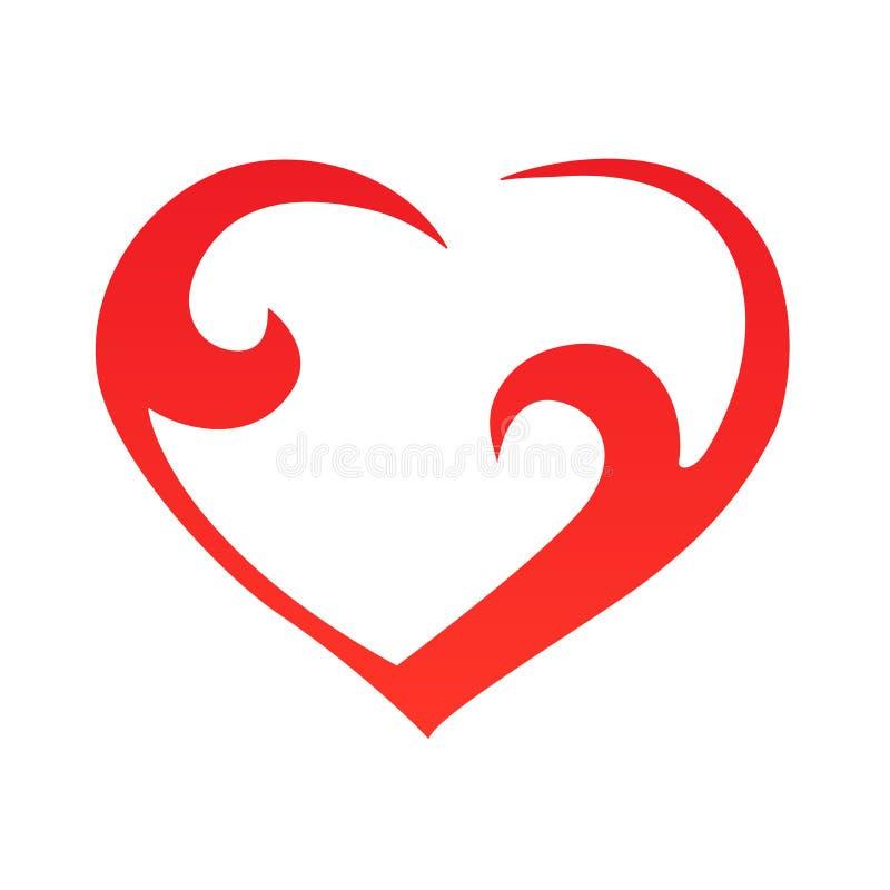 Esboço abstrato da forma do coração Ilustração do vetor Ícone vermelho do coração no estilo liso O coração como um símbolo do amo ilustração do vetor