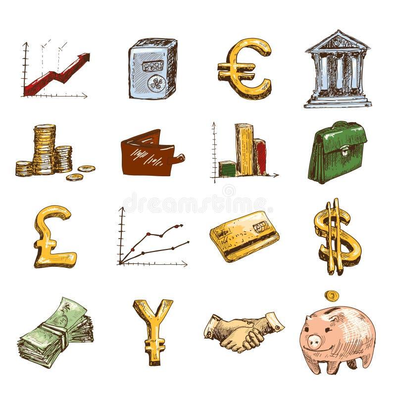 Esboço ajustado ícones da finança colorido ilustração royalty free