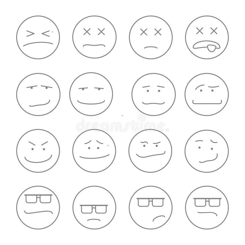 Esboço ajustado dos emoticons do sorriso ilustração stock