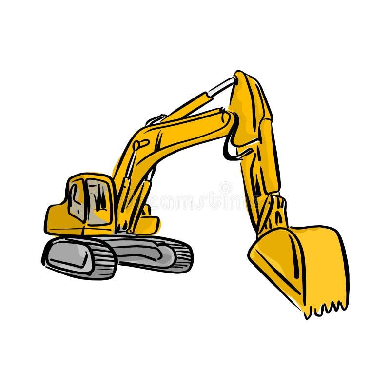 Esboço amarelo han da ilustração do vetor da máquina escavadora de Front Hoe Loader ilustração stock