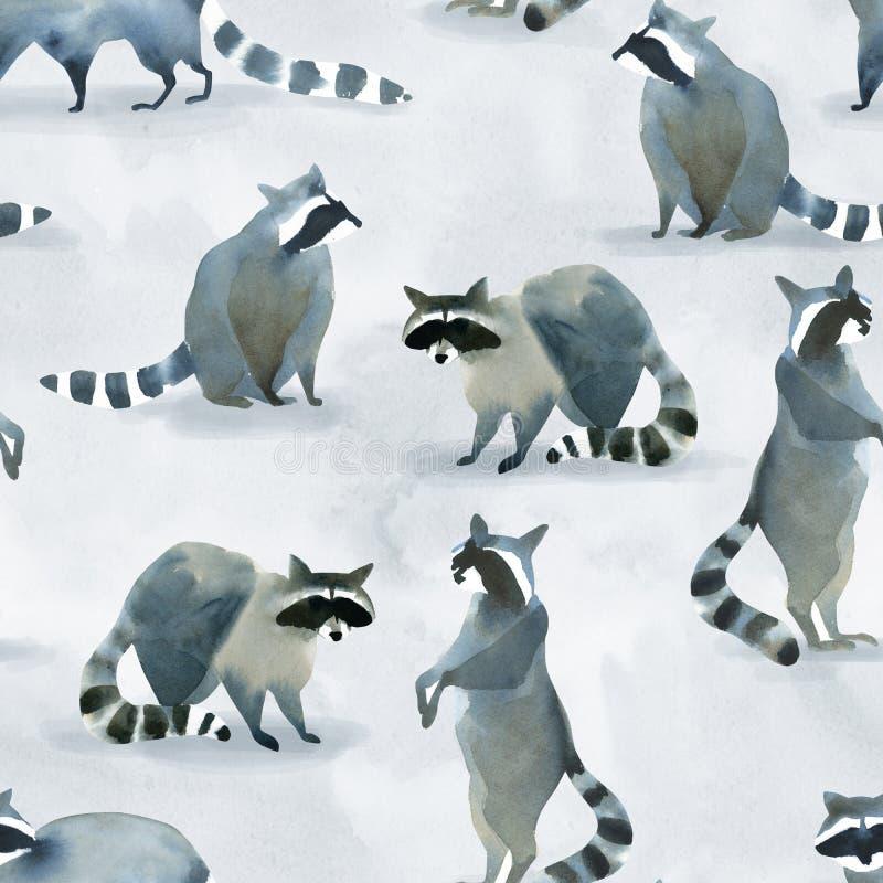 Esboço animal da floresta realística da aquarela Teste padrão de Seamles sobre muitos dos guaxinins ilustração royalty free