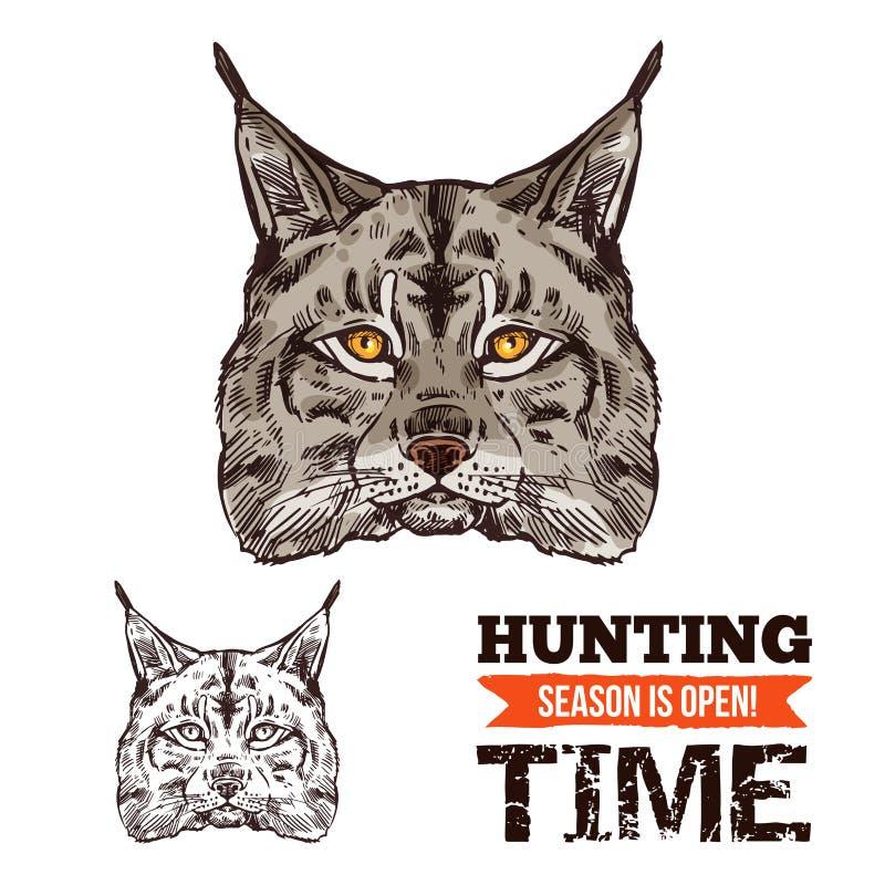 Esboço animal do lince do gato ou do predador selvagem do lince ilustração royalty free