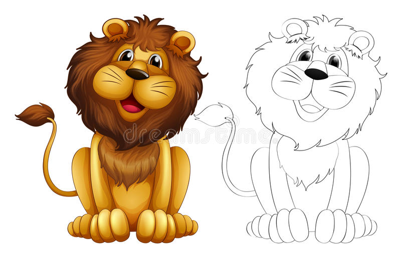 Esboço animal para o leão selvagem ilustração royalty free