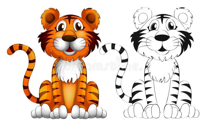 Esboço animal para o tigre ilustração royalty free