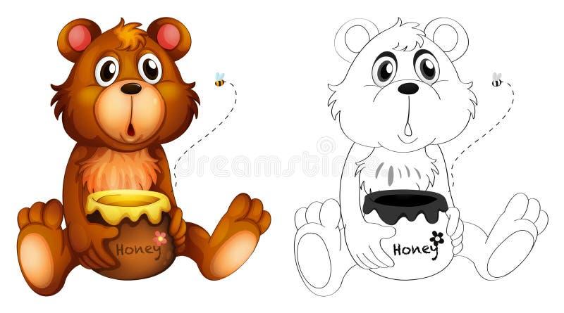 Esboço animal para o urso com mel ilustração stock