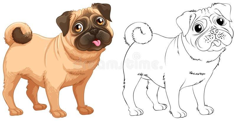 Esboço animal para pouco cão do pug ilustração royalty free
