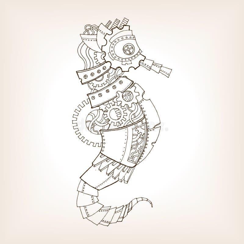 Esboço antigo do vetor mecânico do cavalo de mar ilustração do vetor