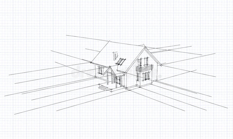 Esboço arquitectónico de uma casa ilustração stock