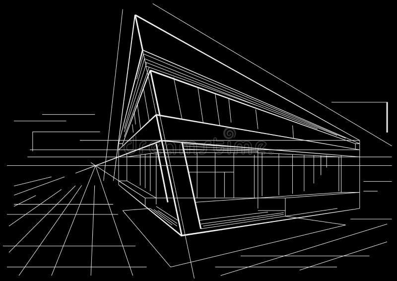 Esboço arquitetónico da construção de canto moderna no fundo preto ilustração royalty free