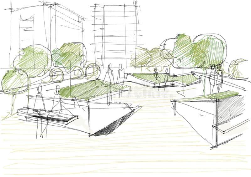 Esboço arquitetónico do parque público ilustração do vetor