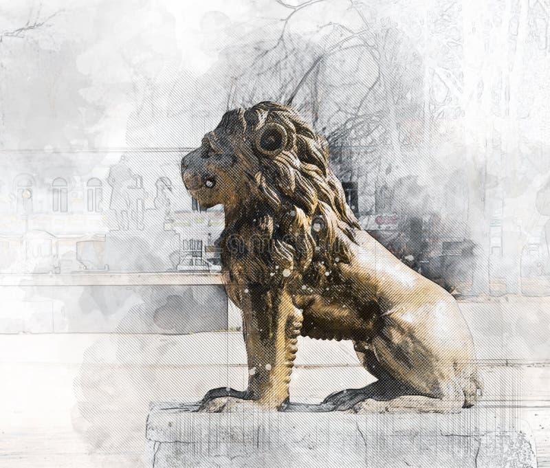 Esboço arquitetónico Lion Sculpture ilustração stock