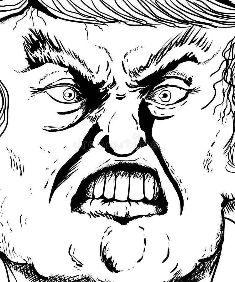 Esboço ascendente próximo do extremo em bordo cortante de Donald Trump ilustração royalty free
