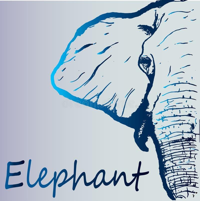 Esboço azul bonito de um elefante - close-up do inclinação ilustração do vetor