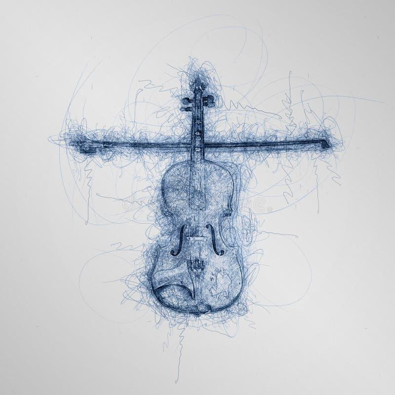 Esboço azul da pena do violino de madeira das crianças com violino ilustração do vetor
