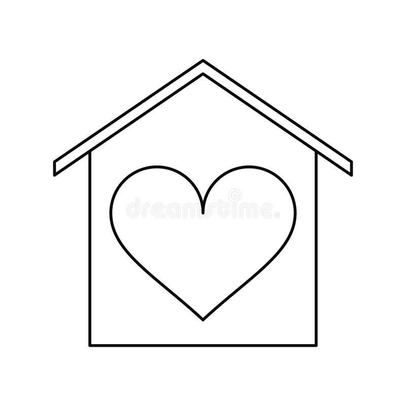 Esboço beauitful do cartão do coração do amor da casa ilustração stock