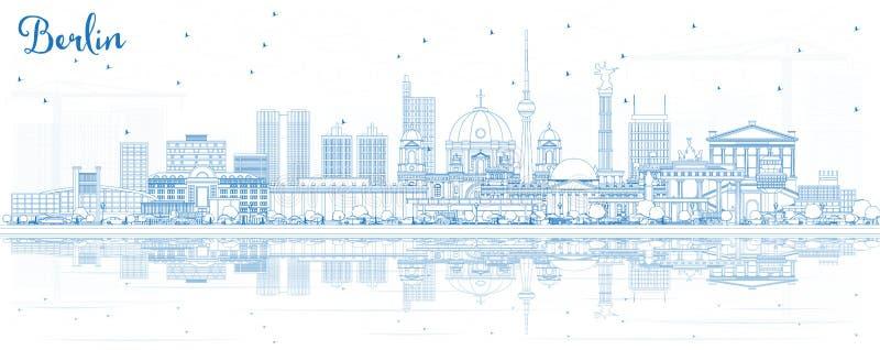 Esboço Berlin Germany City Skyline com construções azuis e Refl ilustração stock