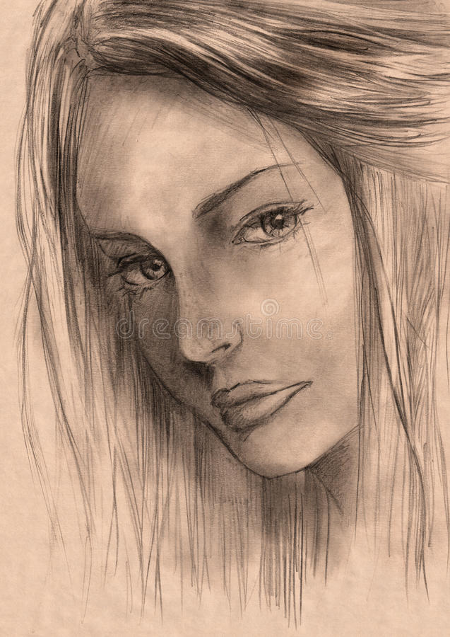 Esboço bonito da mulher ilustração do vetor