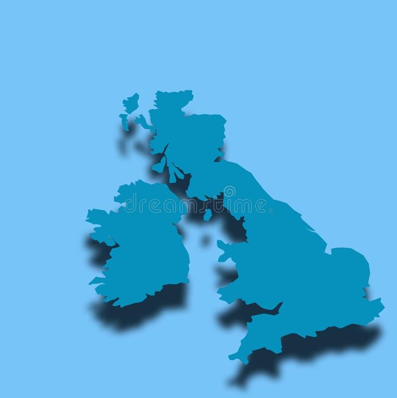 Esboço BRITÂNICO azul do mapa ilustração stock