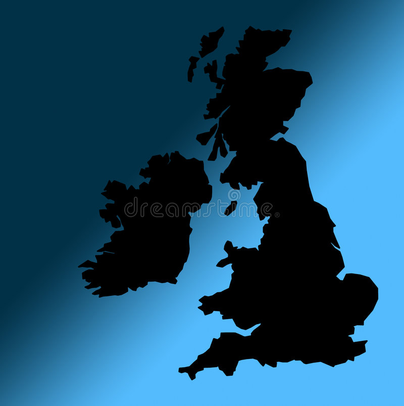 Esboço BRITÂNICO preto do mapa ilustração stock
