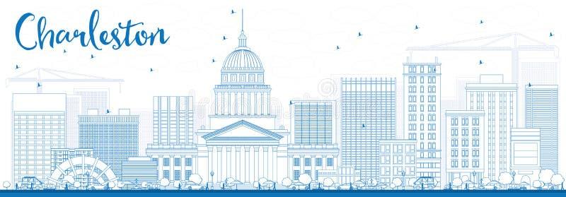 Esboço Charleston Skyline com construções azuis ilustração do vetor