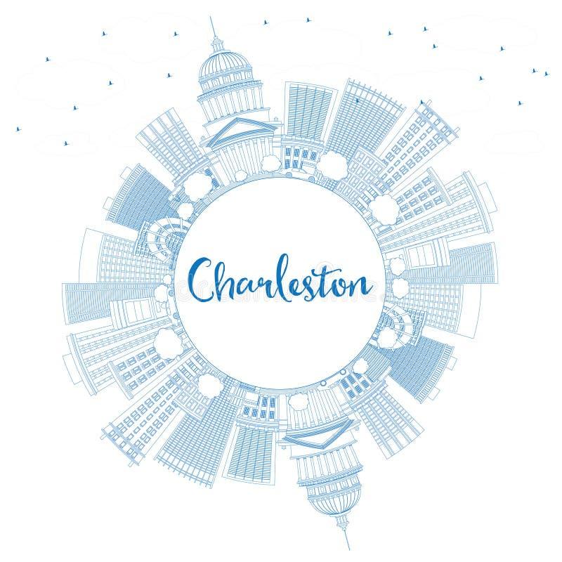 Esboço Charleston Skyline com construções e espaço azuis da cópia ilustração do vetor