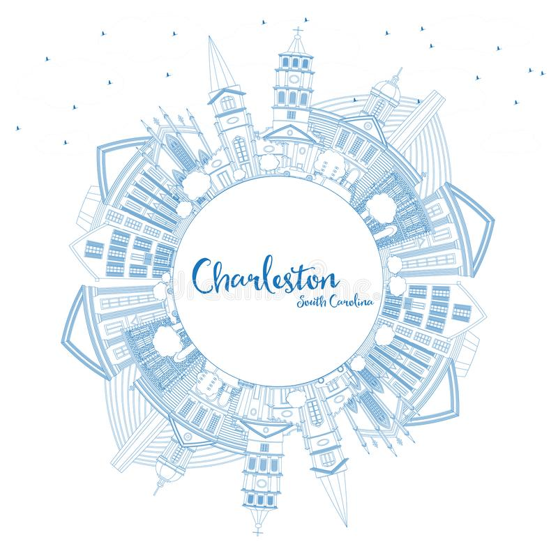 Esboço Charleston South Carolina City Skyline com Buildin azul ilustração do vetor