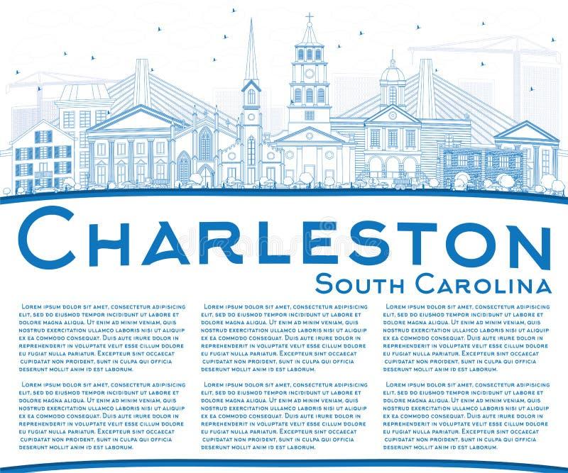 Esboço Charleston South Carolina Skyline com as construções azuis ilustração do vetor