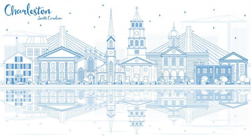 Esboço Charleston South Carolina Skyline com as construções azuis ilustração stock