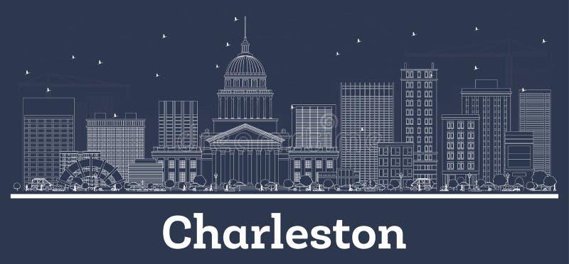 Esboço Charleston West Virginia City Skyline com construções brancas ilustração royalty free