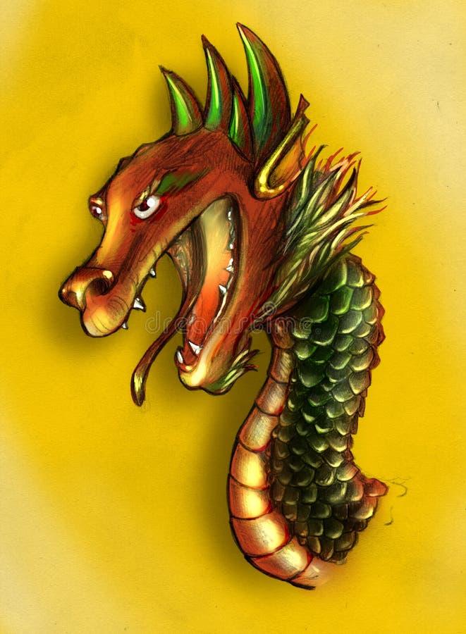 Esboço chinês do dragão colorido ilustração stock