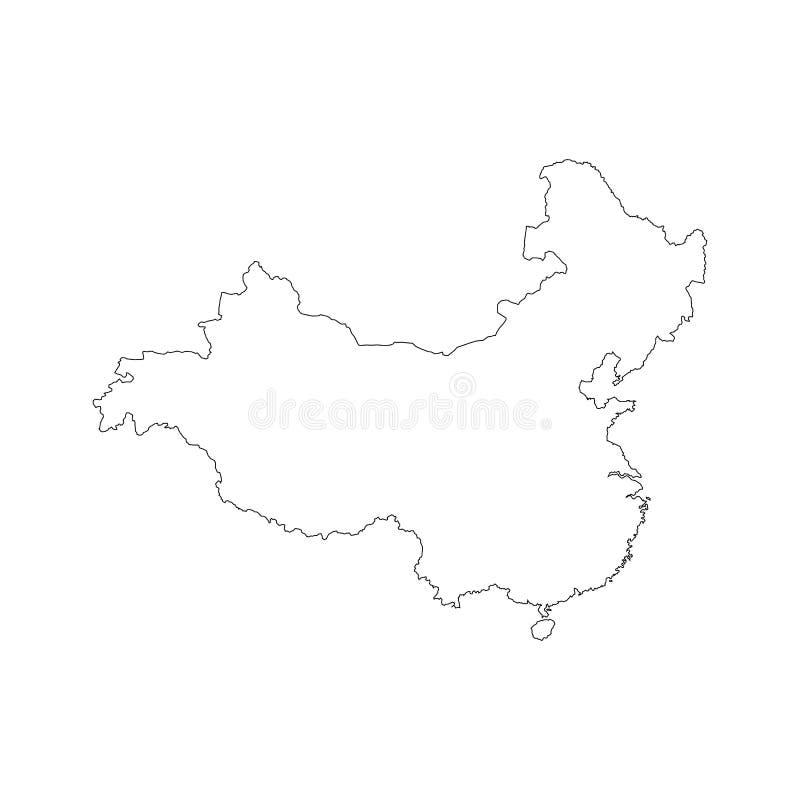Esboço China do preto do mapa ilustração royalty free