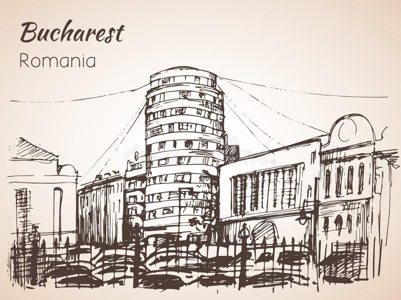 Esboço cilíndrico da construção Bucareste, Romania ilustração stock
