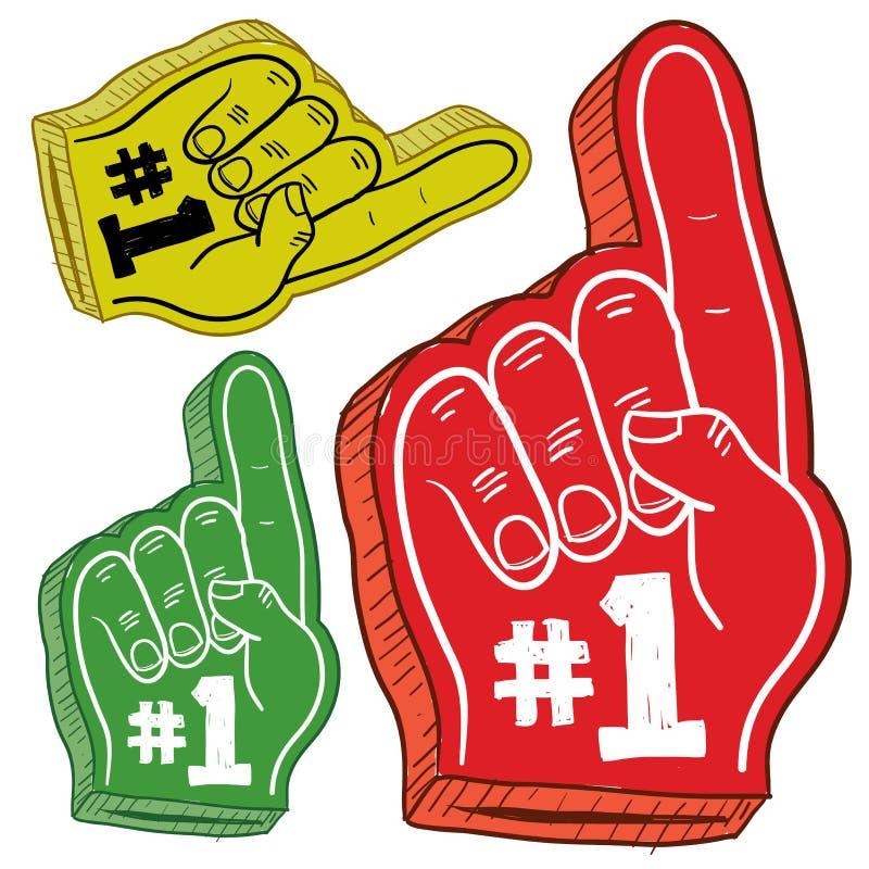 Esboço colorido dos dedos da espuma ilustração royalty free