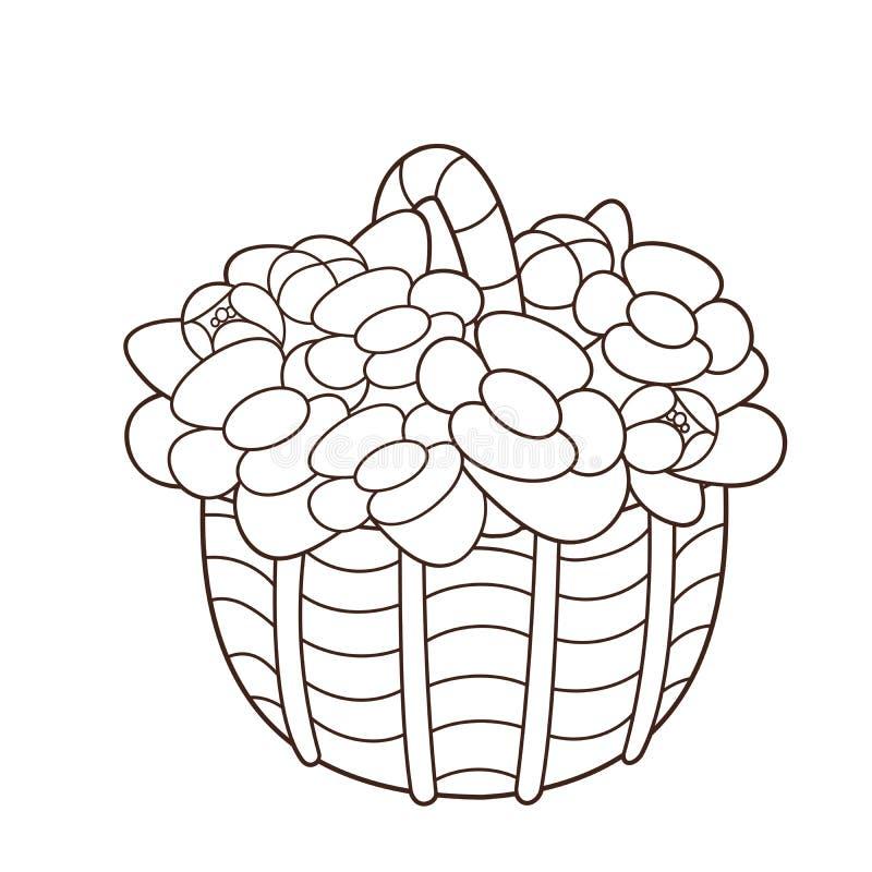 Esboço colorindo da página da cesta das flores Livro para colorir para crianças ilustração do vetor