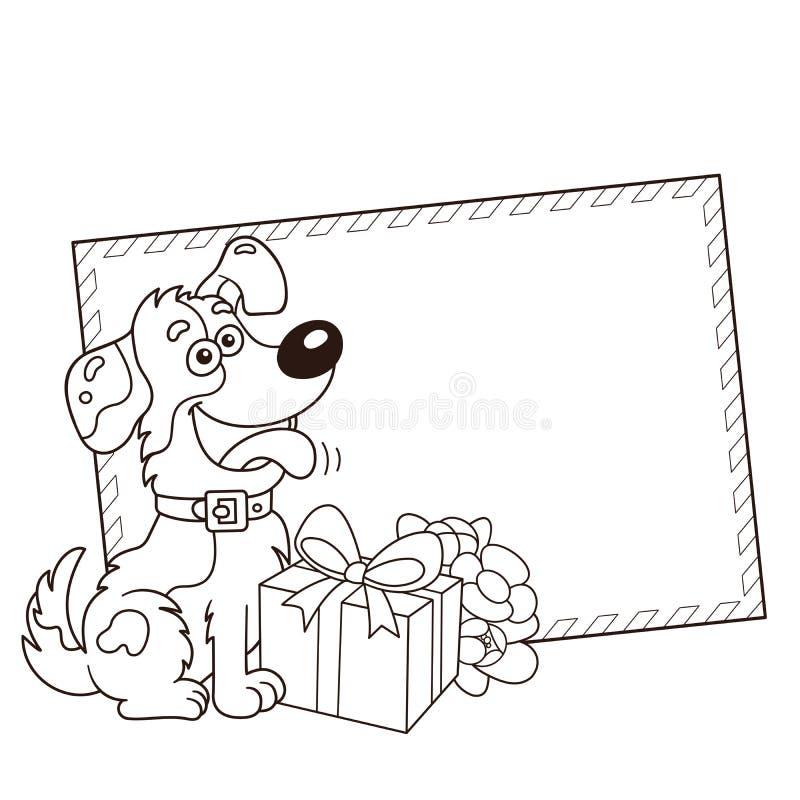 Esboço colorindo da página do cão dos desenhos animados com presente e flores ano novo feliz 2007 Aniversário Dia do `s do Valent ilustração royalty free