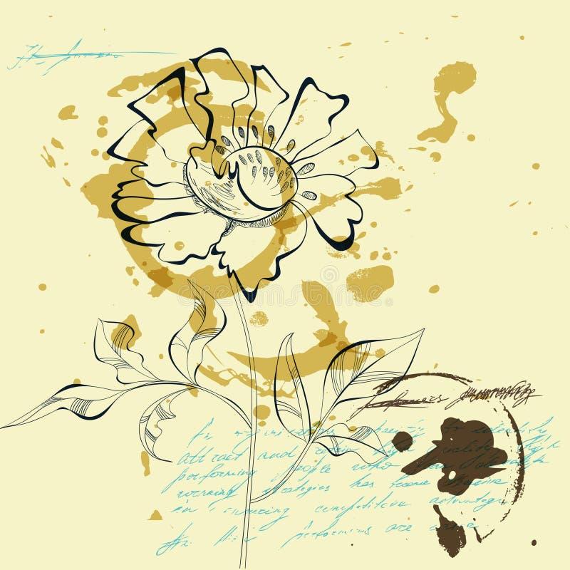 Esboço com flor ilustração stock
