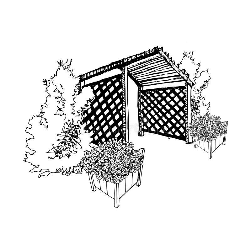 Esboço com os potenciômetros do caramanchão, do thuja e do jardim ilustração stock