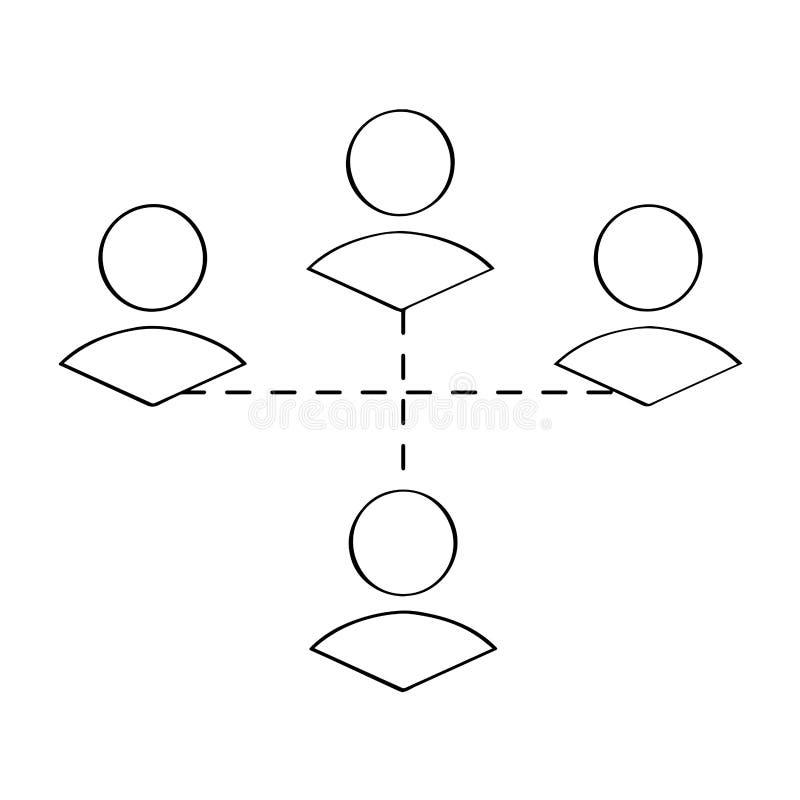 Esboço conectado dos povos Conceito dos trabalhos de equipa ilustração do vetor