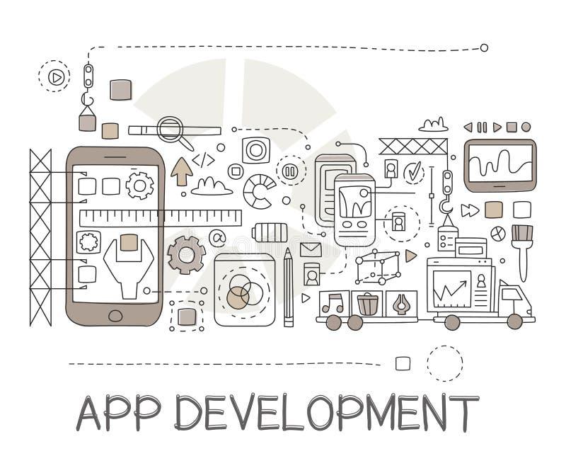 Esboço criativo Infographic dos elementos do processo de desenvolvimento do App ilustração do vetor
