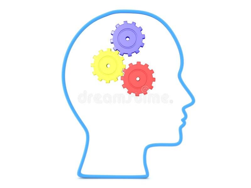 esboço 3D da cabeça com as três engrenagens coloridas que gerenciem para dentro ilustração stock