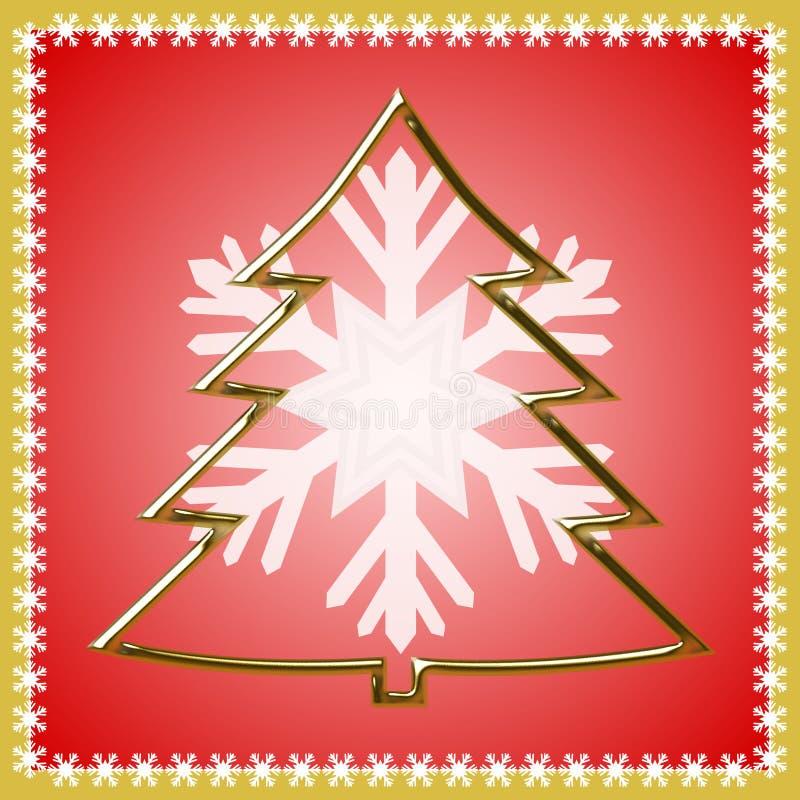 Esboço da árvore de Natal dourada ilustração royalty free